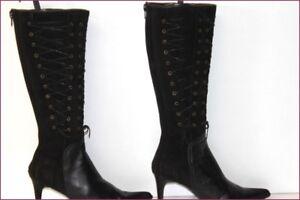 REBECCA SANVER Stivali Pelle scamosciata e Nera strisce T 36 ottima qualità