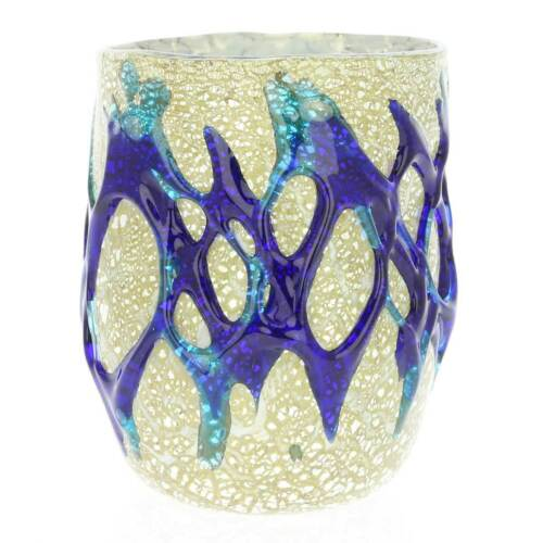 GlassOfVenice Murano Drinking Glass Silver Leaf and Blue