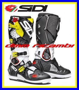 Nero//Cenere//Giallo Fluo Sidi Crossfire 3/SRS Stivali da Moto 44