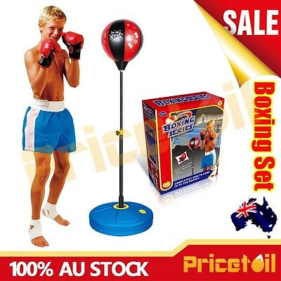 OZ Junior Boxing Punching Ball Gloves Kids Boys Xmas Gift Set Box Toy Adjustable