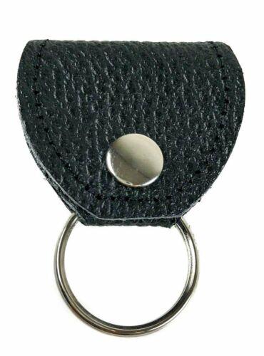 Heavy Duty Guitar Pick Holder Key Ring Leather Professional Grade Black Buffalo