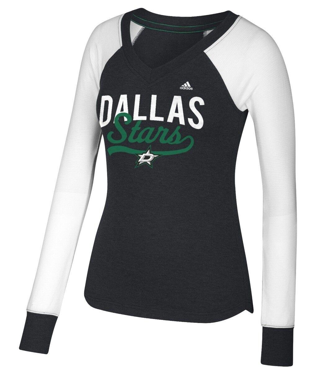 "Dallas Stars Damen Adidas NHL \""Puck Drop\"" Langarm-T-Shirt mit zwei Blends"