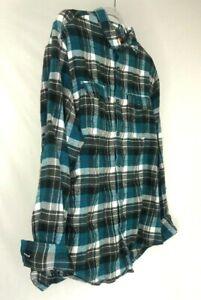 Blue-amp-Black-Burnside-Plaid-Men-039-s-Long-Sleeve-XL-Flannel-Collared-Pocket-Shirt