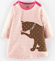 Baby Boden Stripy Applique Pink Cat Jersey Dress Bnib 3 Months - 2 Years
