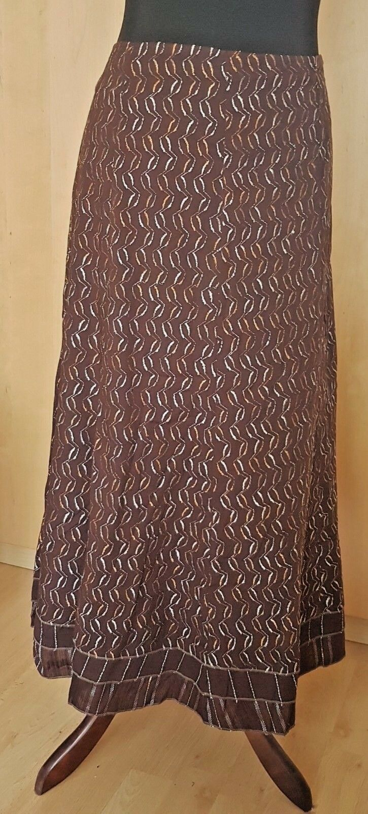 Embroidered 100% Cotton, Cotton lined Long Skirt Per Una M&S Brown Size 14 UK
