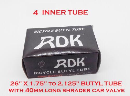 """MOUNTAIN BIKE 26/"""" x 1.75/"""" to 2.125/"""" SIZE XLONG 40mm SHRADER VALVE INNER TUBES"""