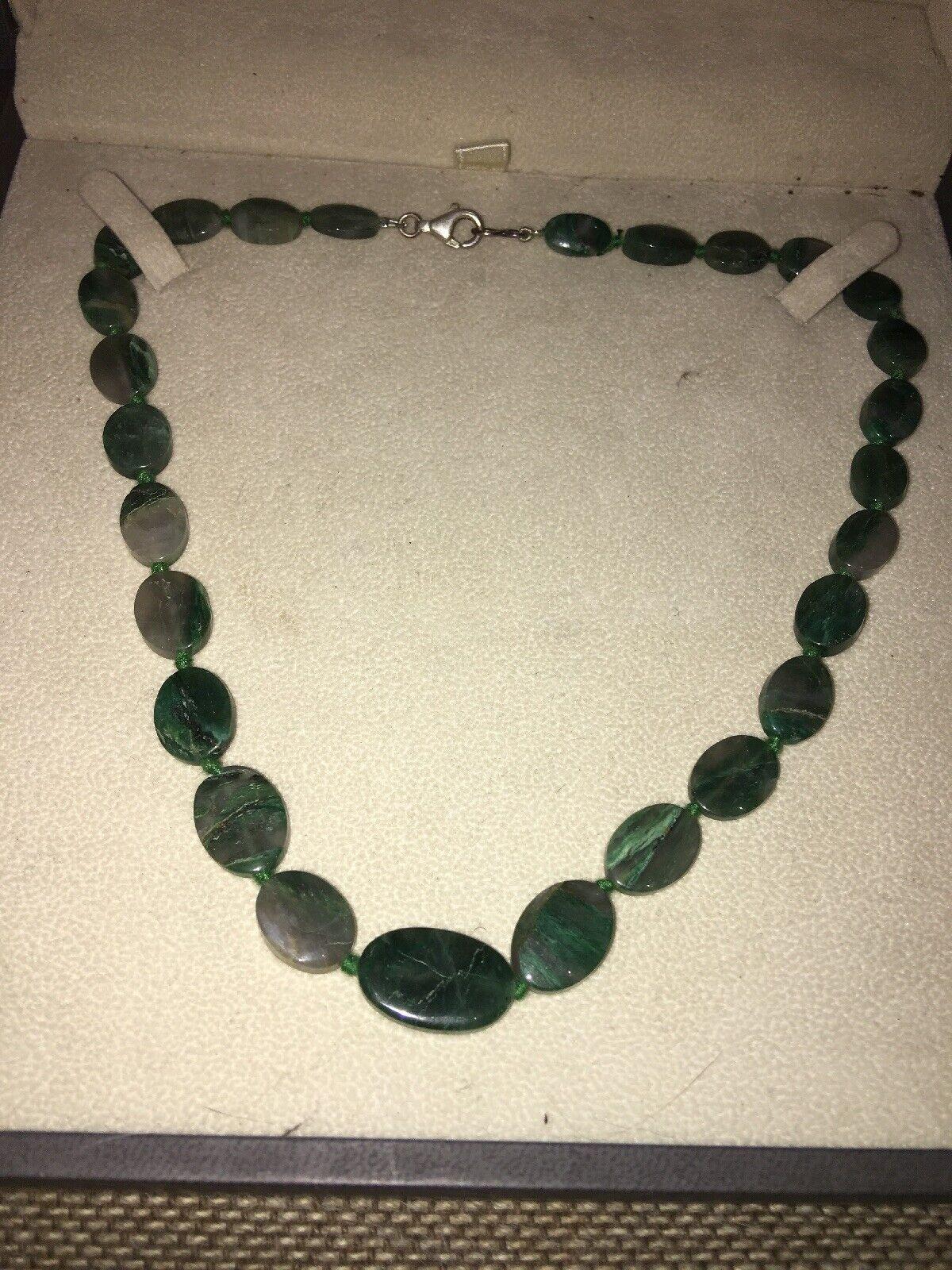 Collar Perlas Cuentas de Jade Cierre 925
