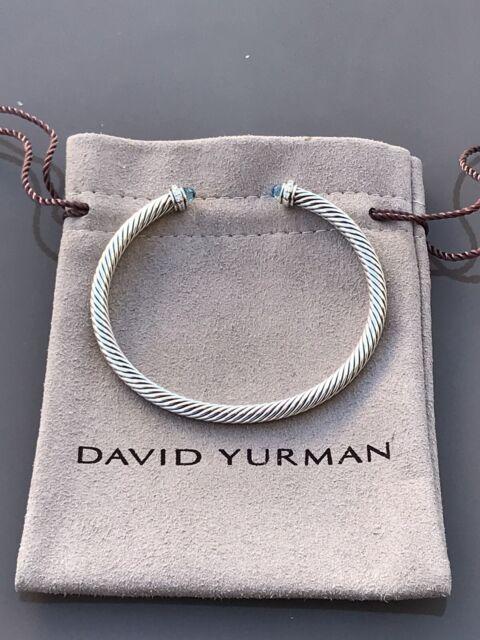DAVID YURMAN Cable Classics Cuff Bracelet With Blue Topaz /& Diamonds 5mm Size M