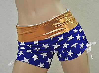 Wonder Woman SuperHero Blue Star Shorts Bikram Hot Yoga Workout SXYfitness USA