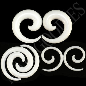 V127-White-Spiral-Swril-Stretchers-Tapers-Expanders-4-2-0-00G-Gauges-1-2-034-Plugs