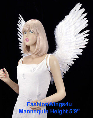 Adult Large V shape Open Swing White Feather Angel Wings Fairy Swan Bird Costume