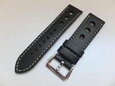 24MM Black Smooth 3 Big Holes Genuine Leather Pilot Racing Watch band, Strap
