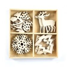 PACK 16 PRETTY WOOD CHRISTMAS EMBELLISHMENTS FOR CARDS OR CRAFTS (SET 2)