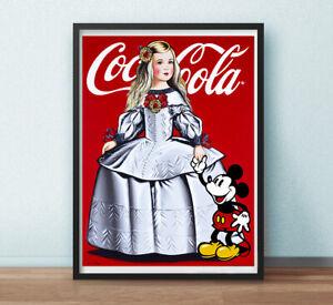 CARTEL-DE-Antonio-de-Felipe-Menina-Coca-Cola-con-Mickey-offset-80X60CMS