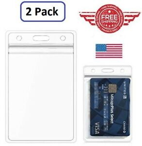 2 PCS ID Card Holder Clear Hard Plastic Badge Waterproof Business Case USA