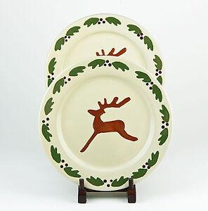 Salute Ceramics Set of 2 Dinner Plates SLU20 Red Rim Santa Claus SUPERB
