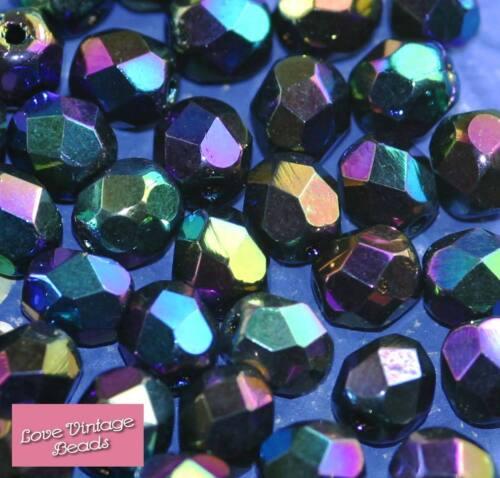 50x Noir Jet Iris Feu Poli 6 mm Perles Tchèque spacer en verre vintage