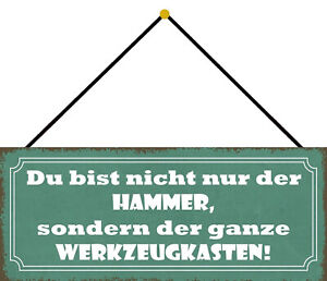 Du Bist not Only Hammer Shield with Cord Metal Tin Sign 10 X 27 CM K0695-K