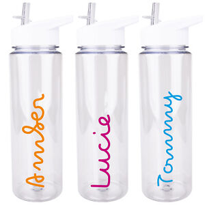 Drinks Bottle Gym Bike Water Bubble Font Sports 2 x Personalised Name Stickers
