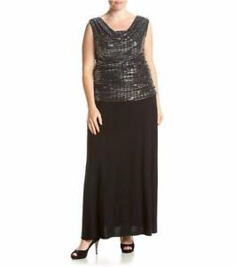 b9e62637961 R M RICHARDS® Plus Size 18W Sequin Top Long Black Dress NWT ...