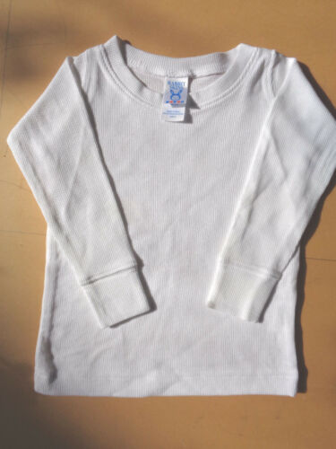 WHITE NEW RABBIT SKINS TODDLER COTTON LONG SLEEVE T-SHIRT FOR 2 Y.O