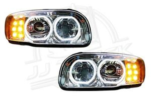 Details about New Peterbilt 388 389 Full LED Headlight   Chrome   Pair (LH  & RH)