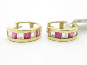 14kt-Yellow-Gold-Created-Red-amp-White-Sapphire-Princess-Cut-Cuff-Earrings-Gift