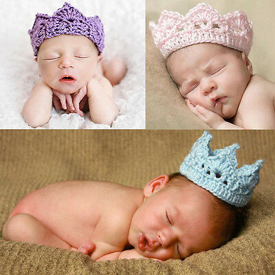 Fashion Newborn Baby Crochet Knit Prince Crown Headband Hats Hair Accessories