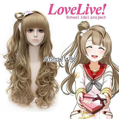 Love Live! Minami Kotori Flaxen Brown Curly Design Lady Cosplay Wigs+Wig Cap