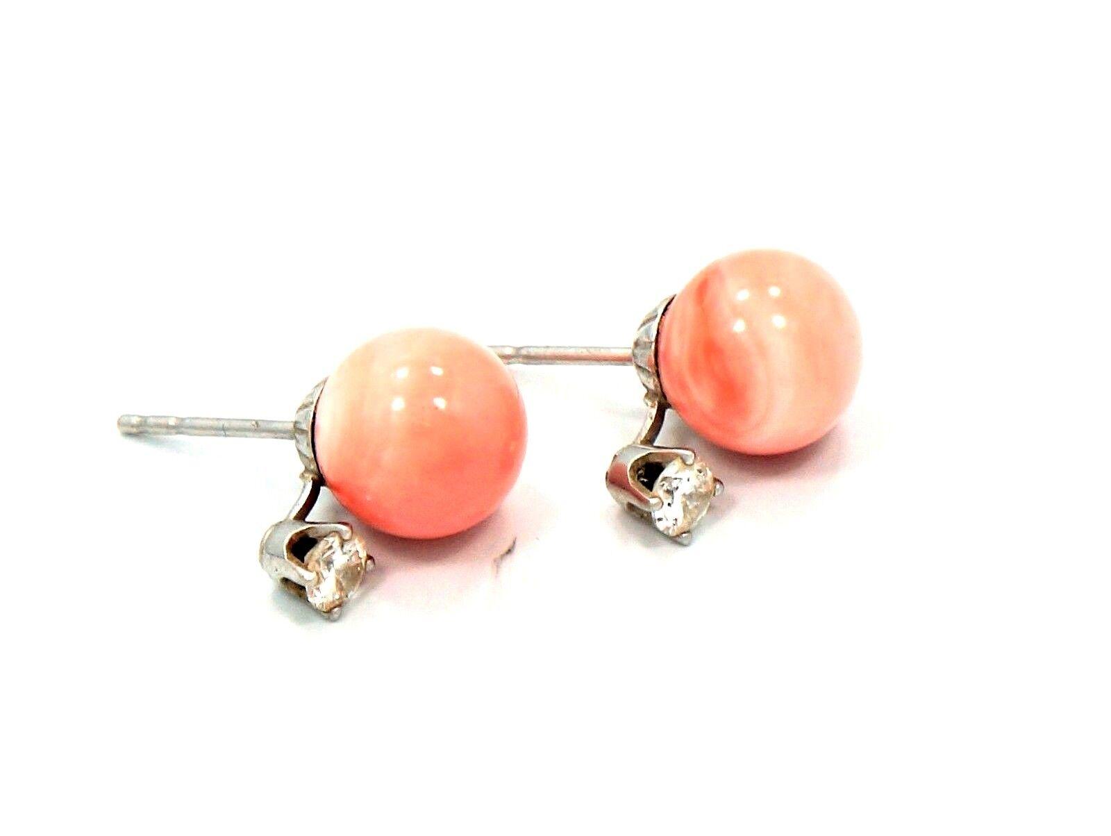 1 3 Cttw Diamond and Angel Skin Pink Coral Stud Earrings