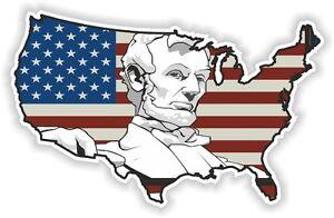 USA Abraham Lincoln STICKER America UNITED STATES MAP FLAG BUMPER ...