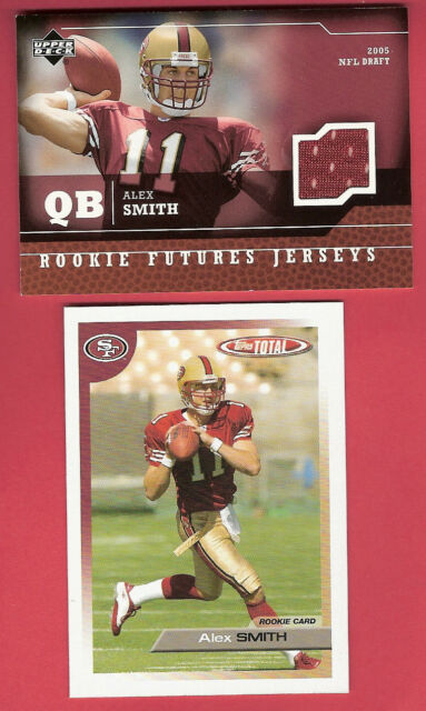 ALEX SMITH UPPER DECK ROOKIE JERSEY + TOPPS TOTAL  RC CARD WASHINGTON REDSKINS