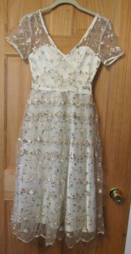 Collectif Ivory Floral Dress Size XXS