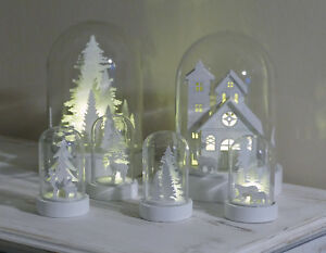 LED-Deko-Glas-Glocke-Haus-Weinachten-xmas-Deko-Mini-Landschaft-Timer-Batterie