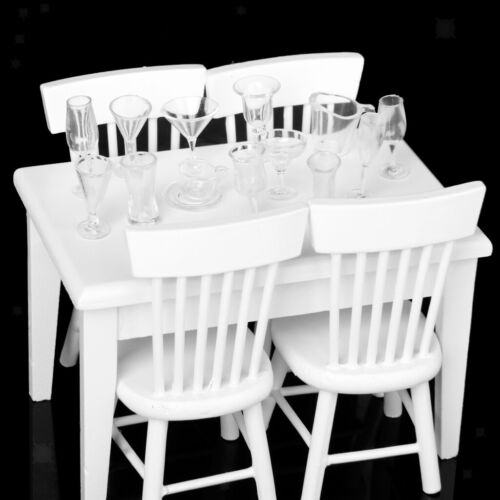5 pz//set 1//12 Dollhouse Miniature Tavolo Da Pranzo Sedia di Legno Mobili Set