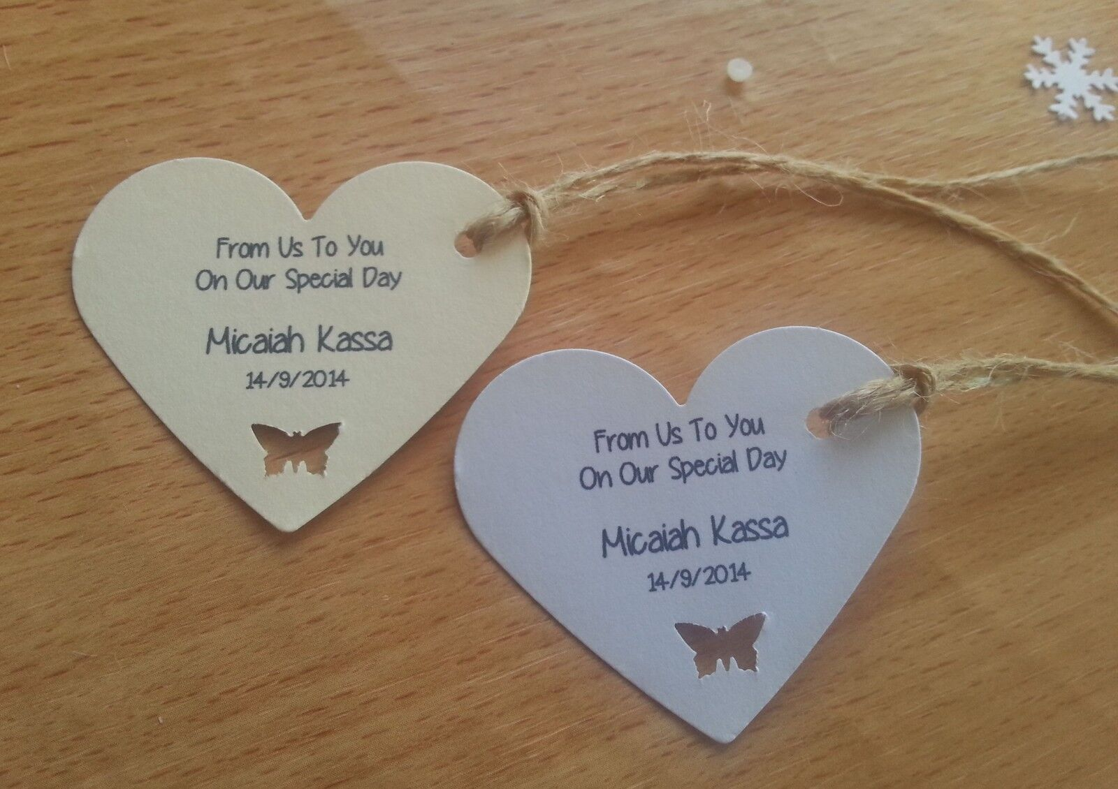 Heart Tags for Wedding Favours Gifts - Cute Butterfly Cut Out - Personalised