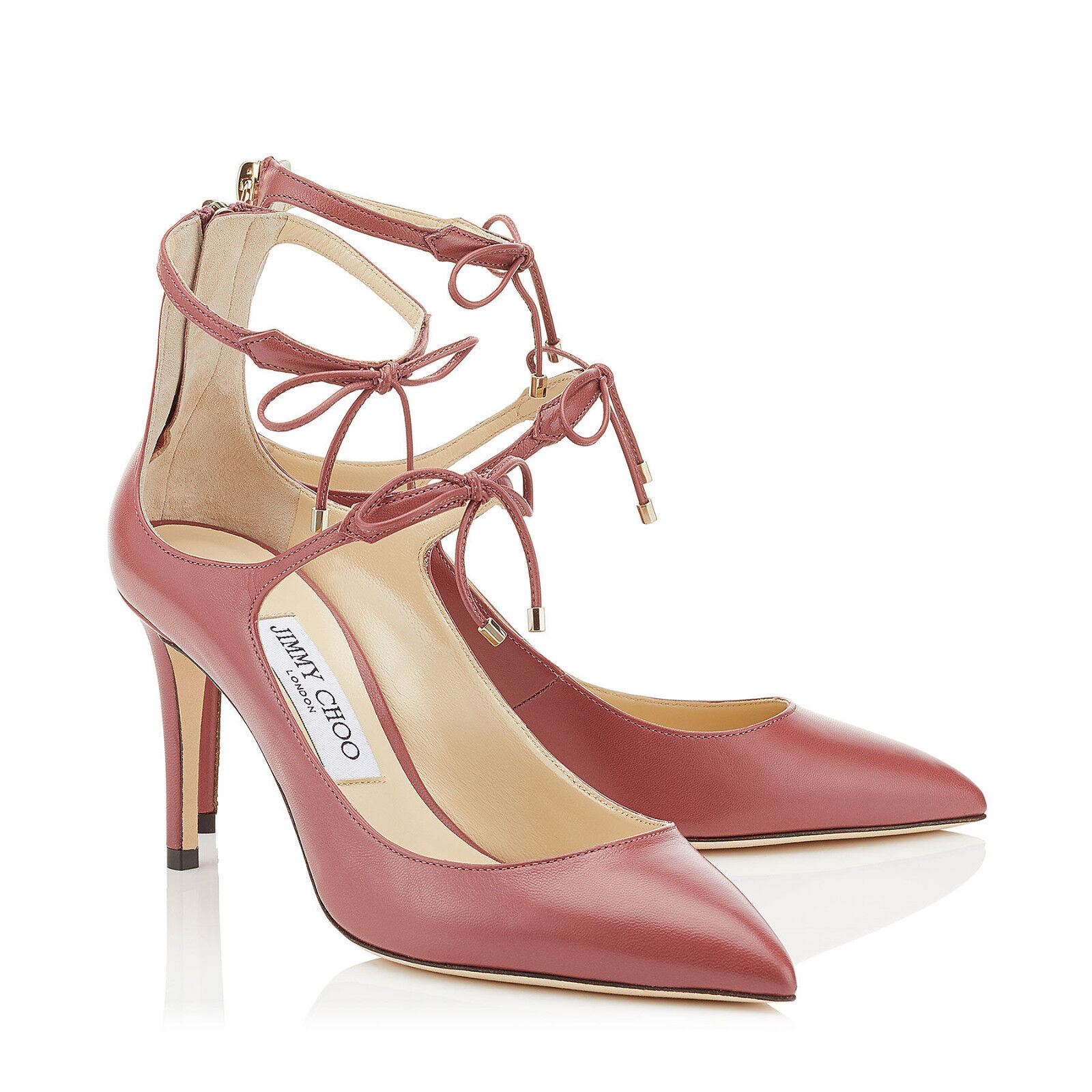 New JIMMY CHOO SAGE Size 8.5 8.5 8.5 Vintage pink Tie Front Heels Pumps shoes NIB 39 09f731