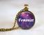 New Cabochon Glass Necklace bronze charm Retro pendants: feminist quotes
