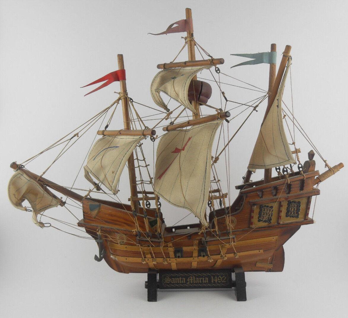 Veliero SANTA MARIA 1492 1492 Modellino Barca Nave in Legno VINTAGE Boat