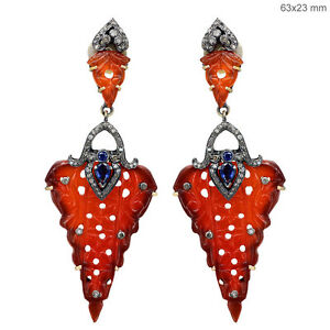 Sapphire-Yellow-Gold-Carved-Onyx-Diamond-Pave-925-Silver-Dangle-Earrings-Jewelry