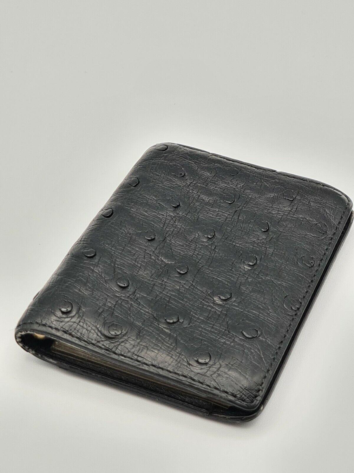 Delvaux Scarce Vintage Schwarz Strauß Leder Unisex Kartenfach Etui