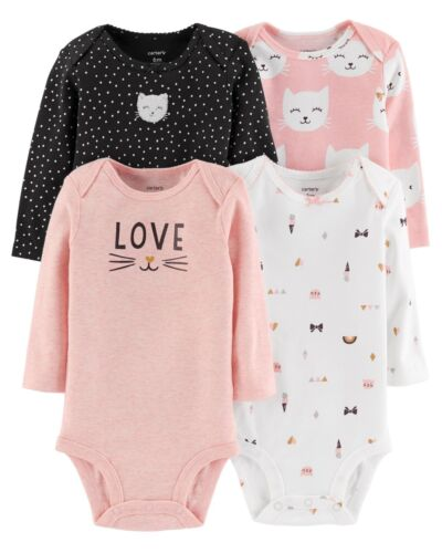 New Carter/'s Girls 4 Pack Kitty Cat Bodysuits Tops NWT NB 3m 6m 9m 12m 18m 24m