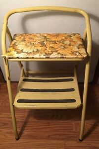 Vintage Yellow Metal Step Stool Folding Ladder Wide And