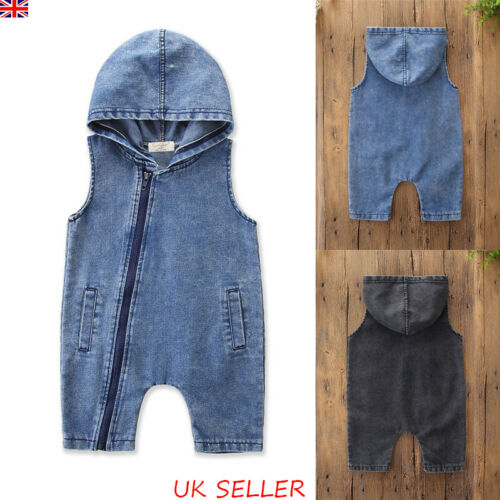UK Toddler Kids Baby Boys Girls Hooded Denim Jumpsuit Playsuit Dungaree Outfits