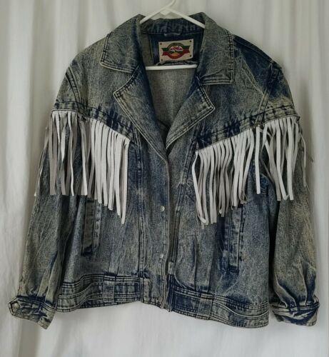 Vintage 80s Rock Creek Acid Wash Denim Jacket Whit