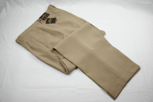 Mens Khaki Dress Pants Tailored Trousers Pleated Slacks Sizes 30 to 40