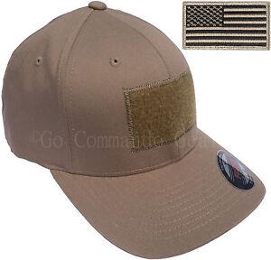 Men s Fitted 98% Cotton Flexfit Mid Profile Tactical Cap w Removable ... 392845442b60