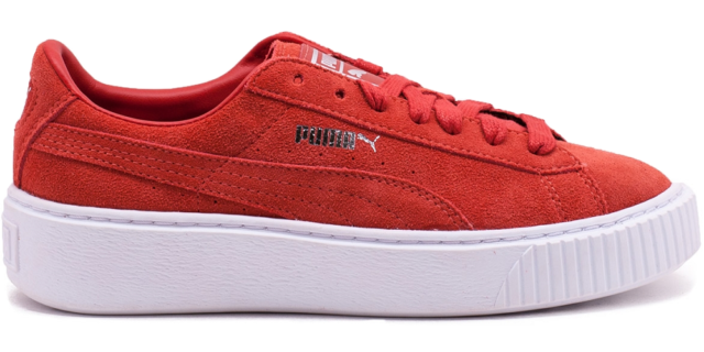 puma suede platform rouge