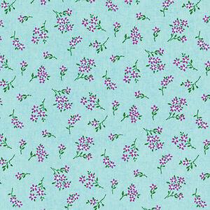 LINEN-COTTON-BLENDED-FABRIC-CURTAIN-TABLE-VINTAGE-ELEGANT-WILD-FLOWER-BLUE-55-W
