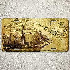 LP003 Vintage Car License Plate Old Map Sailing Ship Pirate Home Wall Decor Gift